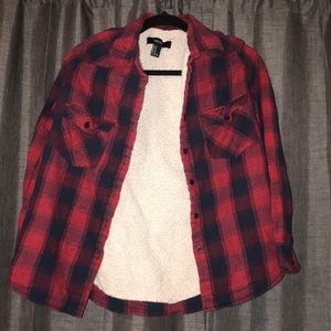 forever 21 thick lined plaid flannel size medium